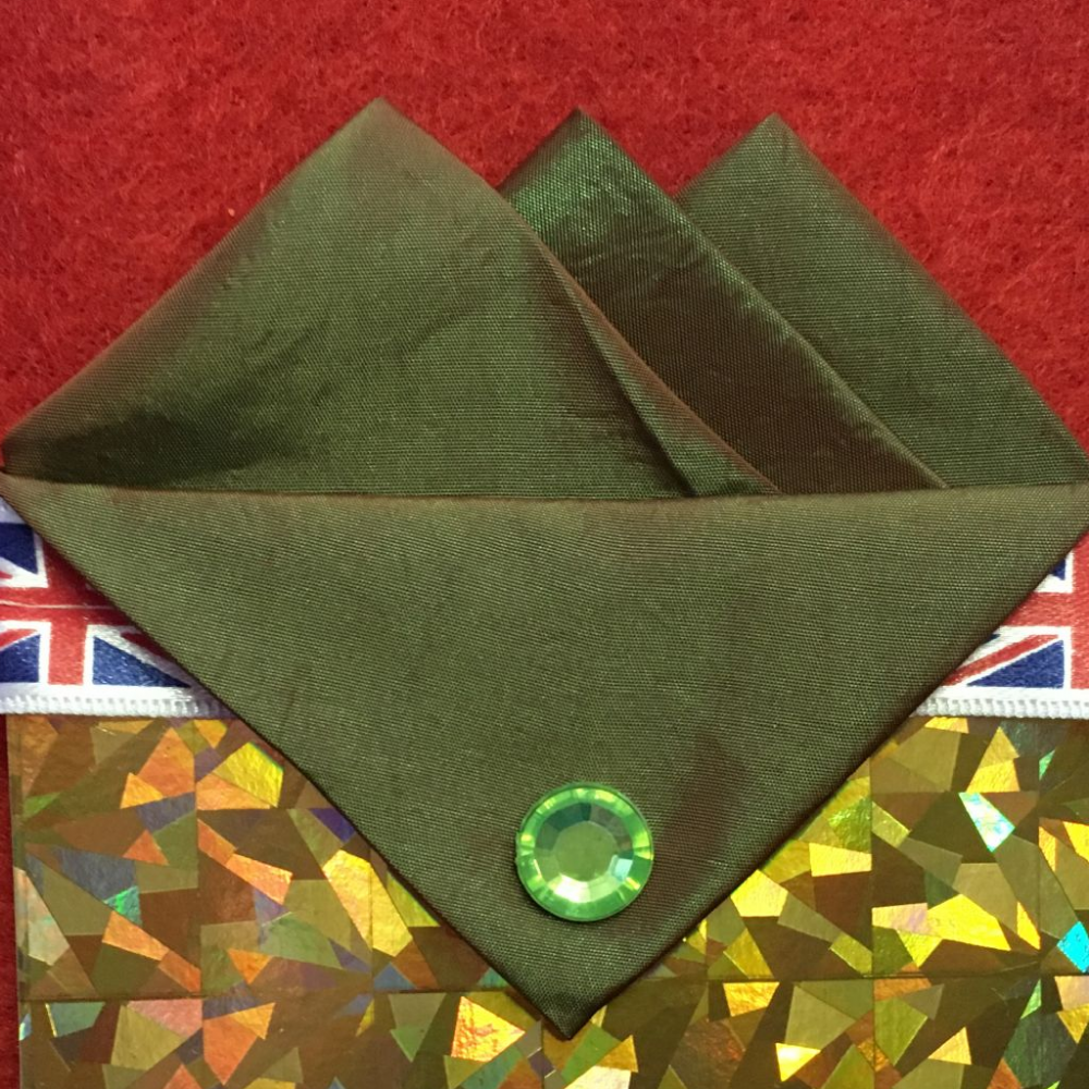 Green (Forest Green) Three Point Pocket Hankie & Pin